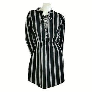 Rue21 Striped Silky Lace-Up Long Sleeve Shirtdress